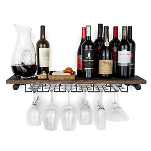 Rustic State Wall Mounted Reclaimed Wood Floating Shelf Wine Rack with Stemware Holder Walnut
