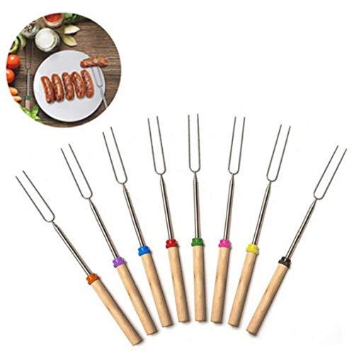 8Pcs Retractable Barbecue Gabeln Roasting Sticks Holzgriff Grillgabeln Grillgeräte ausziehbar Barbecue Gabeln Für Lagerfeuer