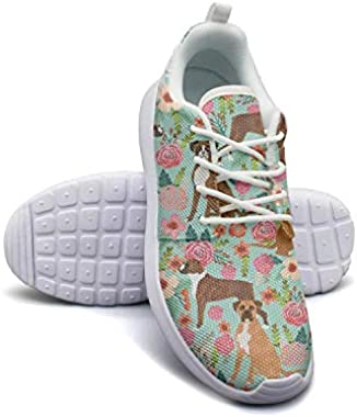 Bernese Mountain Dog with Florals Cool Shoes Womens Ultra Lightweight Comfortable Athletic Sneakers Running Shoes