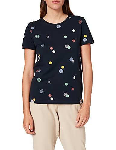 TOM TAILOR Damen 1026223 Alloverprint T-Shirt, 27233-Navy Colorful Dot Design, M
