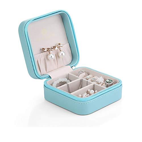 ZRJ Caja para Joyas Pendientes de joyería de joyería portátil Organizador de joyería Pendientes Collares Pequeño Caso de Viajes Mujeres Cajas (Color : Blue)