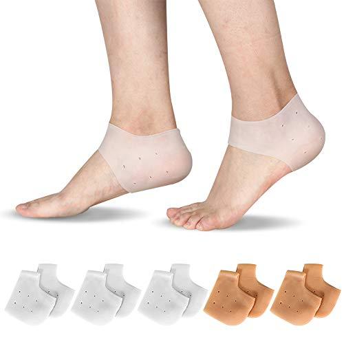 redcherry 5 Paare Fersenschutz aus Silikon, Silikon Fersenschutz Ferse Socken Gel Fersenschutz Silikon Pads für Fersensporn Chronische Plantarfasziitis und Haut Bruch Damen Mädchen Herren