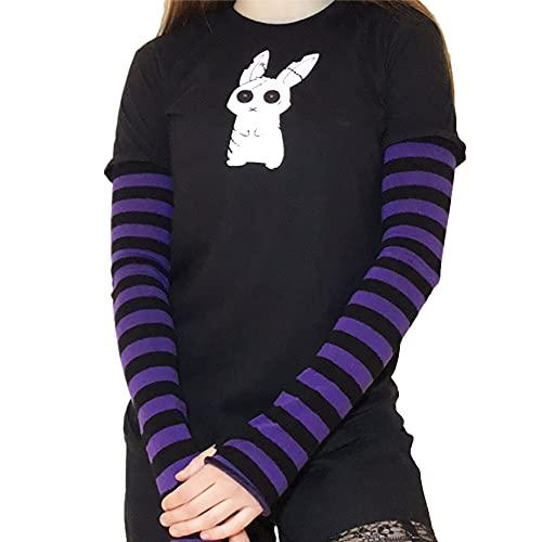Camiseta de manga larga con estampado de dibujos animados para mujer con estampado de patchwork y bloque de color para mujer, Black Purple B, M