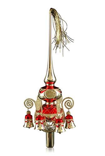 Doppelspitze mit Glöckchen silber rot, umsponnen L ca. 33cm d(Kugeln) 6/8cm Christbaumschmuck Weihnachtsbaumschmuck mundgeblasen,handdekoriert,Leonischer Draht Lauschaer Glas das Original