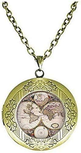 Handmade World map Locket Necklace Glass Art Jewelry Art Picture Jewelry