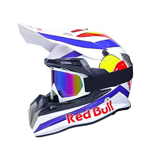 Motocrosshelme Motorradhelm Motorrad Crosshelme Jugend Kinder Offroad Helm Sturzhelm Schutzhelm Helm für Motorrad Kinderquad und Crossbike Red Bull B,M=(57~58CM)