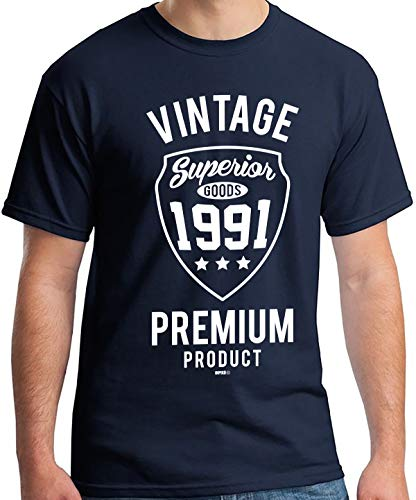 Vintage Premium 1991 T-Shirt for Men, Blue for 30th Birthday
