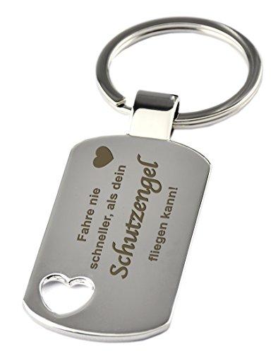 GESCHENKE-FABRIK Schlüsselanhänger mit Herzausschnitt & Gravur 'Fahre nie schneller als dein Schutzengel fliegen kann !' - Im Chrom Stil - Geschenk zum Führerschein oder für als Schutzengel