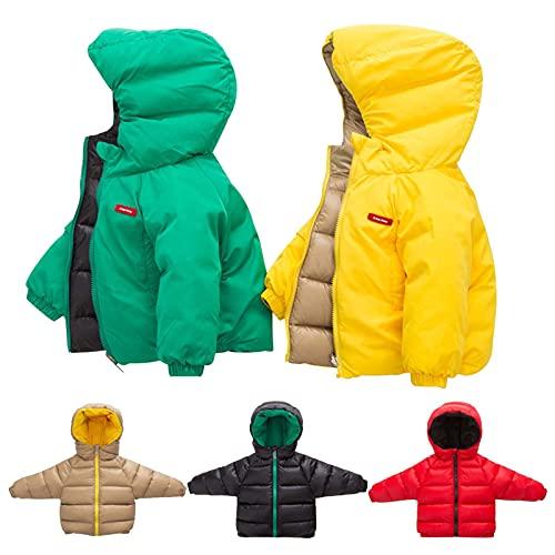 Abrigo de invierno para nios y nias, con capucha, doble cara, acolchado de plumn grueso, chaqueta de algodn acolchado, ropa de abrigo de 3 a 10 aos, amarillo, 9-10 aos