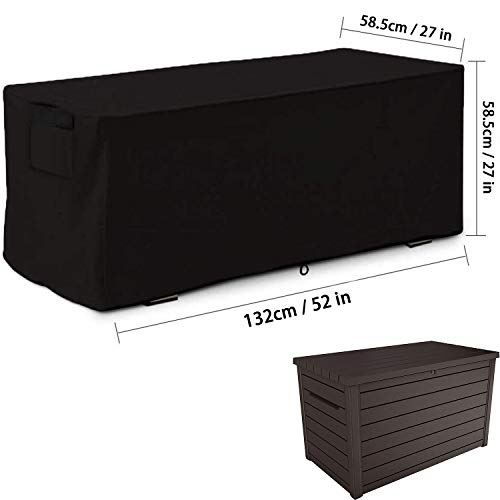 MrYou Patio Deck Box Cover Storage CoverDeck Box Cover Outdoor Storage Container Cover DustProof Protective for Deck BoxesBlack,52 in