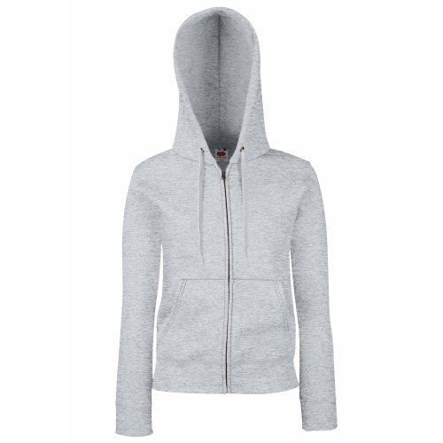 Fruit of the Loom Lady-Fit Damen Kapuzenjacke/Sweatshirt-Jacke mit Kapuze (M) (Grau)