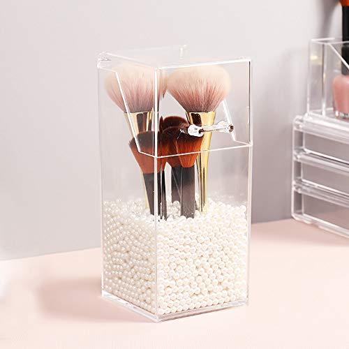 Make-up-Pinselhalter mit Deckel, transparenter Make-up-Pinsel-Organizer, rechteckige Make-up-Pinselhalter, klarer, staubdichter kosmetischer Augenbrauenstifthalter aus Acryl (2600 weiße Perlen)