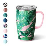 Swig Life 18oz Triple Insulated Travel Mug with Handle and Lid, Dishwasher Safe, Double Wall, and Vacuum Sealed Stainless Steel Coffee Mug in Palm Springs Print (Multiple Patterns Available)