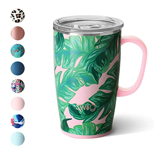 Swig Life 18oz Triple Insulated Travel Mug with Handle and Lid Dishwasher Safe Double Wall and Vacuum Sealed Stainless Steel Coffee Mug in our Palm Springs Pattern Multiple Patterns Available