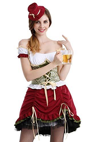 Romanstii Dirndl Oktoberfest Karneval Retro Midi Trachtenkleid Kurzarm Quadratischer Kragen Sexy Trachtenmode Party Cosplay