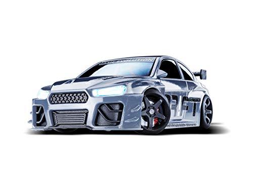 DR!FT Racer Silver V8 Sport ferngesteuertes Drift Auto, Rc Car mit realistischer Fahrdynamik zur Steuerung mit iPhone oder Android, reales Fahrverhalten simuliert via App