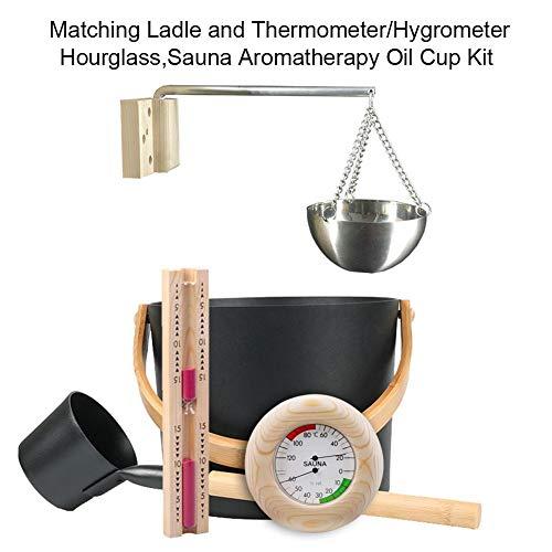 earlyad 7L Saunakübel-Set Mit Langem Löffel, Sanduhr-Thermometer/Hygrometer-Ölbecher, Saunazubehör-Set Lovable