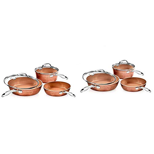 Gotham Steel Pots and Pans Set, 10 Piece, Hammered Copper & Premium Hammered Cookware – 5 Piece Ceramic Cookware, Pots and Pan Set with Triple Coated Nonstick Copper Surface & Aluminum Composition