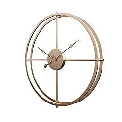 RuiyiF 24 Inch Silent Wall Clock Non Ticking Battery Operated, Oversize Farmhouse Rustic Metal Vintag Large Decorative Living Room Bedroom Office Kitchen (Gold)
