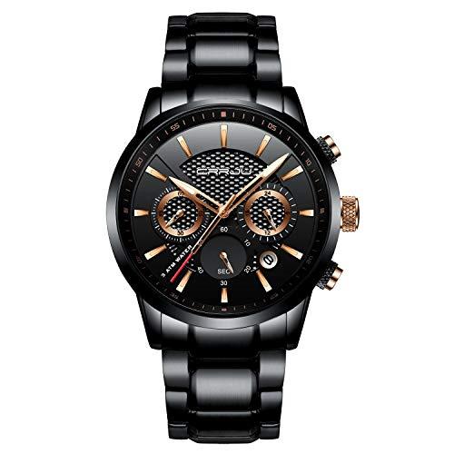 Herrenuhren Wasserdichte Analoge Quarz-Chronograph-Armbanduhr mit Schwarzem Edelstahlarmband und Leuchtzeigern