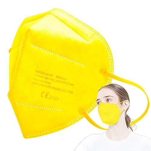 EDIESI Mascarilla FFP2 Homologada 5 capas Protección Respiratoria pack 10 unidades Amarillo CE 2163 EN 149:2001+A1:2009
