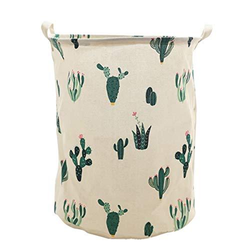 HengYing portabiancheria pieghevole in tessuto, grandi dimensioni secchiello secchio impermeabile Storage Busket abbigliamento bambini giocattoli Green Cactus