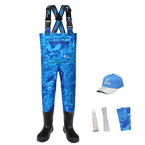 8 Fans Youth Waders, Bootfoot Waders for Kids, Breathable Lightweight Waterproof Fishing Hunting Waders for Toddler (2T)