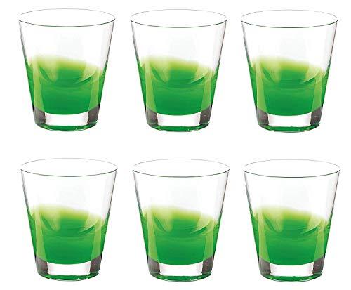 Guzzini Set de 6 Mirage Deux Tons Eau Verres Transparent Vert