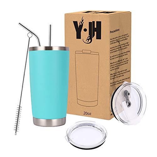 Y·JH 20oz (550ml) Vaso de Viaje de Taza de café con Aislamiento al vacío de Doble Pared Taza de café de Acero Inoxidable con 2 Tapas a Prueba de Salpicaduras, 2 pajitas, sin BPA - Turquesa
