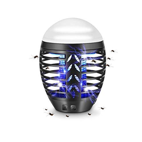 TDW Mosquito Repellent Lamp, Elektrisch Mückenlampe mit USB Steckdose Insektenvernichter für Outdoor Camping, Mückenfalle mit Licht Lampe Atmen, Herausnehmbare Auffangschale, Schwarz (Out-01)
