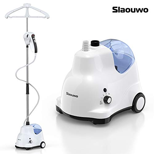 SLAOUWO Garment Steamer for Clothes with Stand, Professional Heavy Duty Fabric Steamer with Hanger, 4 Steam Levels, Ceramic Heating Soleplate, 338℉ Dry Steam, Perfect for Sterilizing and Disinfecting
