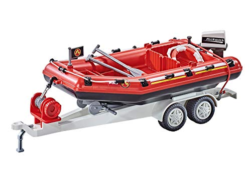 Playmobil 9845 - Feuerwehr-Schlauchboot mit Anhänger (Folienverpackung)