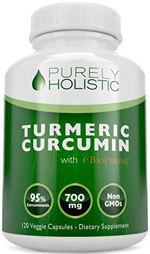 Turmeric Curcumin Supplement Capsules Premium Formulation by Purely Holistic Containing Organic Turmeric Powder Increased Absorption of Tumeric Curcumin Supplement with BioPerine Clinically Proven as an Effective Bioprotectant that Yields 95% Curcumi...