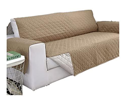 KJLYU Sofaabdeckungen, für Wohnzimmer Couch Cover-Haustierhund Kinder-Matte Möbel Protector Reversible Armlehne Slipcover (1/2/3 Sitzer) (Color : Khaki, Specification : 2-Seater 130-195cm)