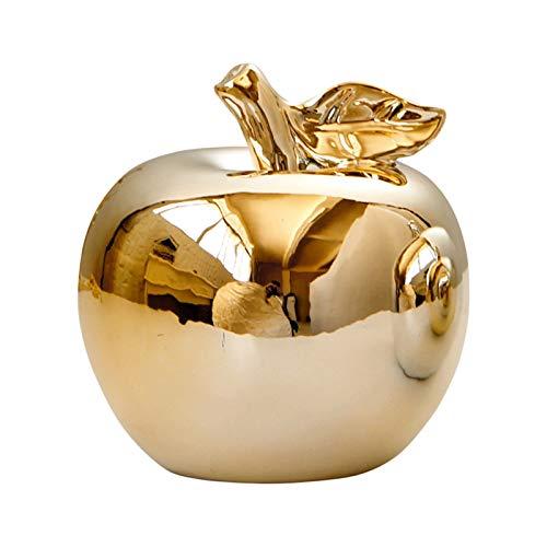 Canghai Deko-Apfel,Weißes Porzellan,Silber/Gold Apfel Dekorative Statue Küche Esstischschmuck Für Heimtextilien Geburtstag (10.5x10.5cm)(Gold)