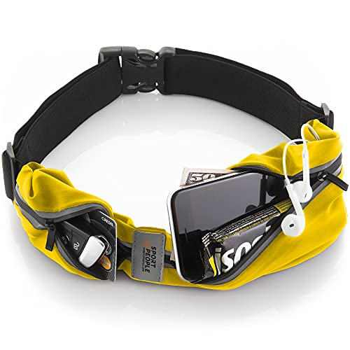 sport2people Running Belt USA Patented - Hands-Free Workout Fanny Pack - iPhone X 8 11 12 Pro Buddy Pouch for Runners - Freerunning Reflective Waist Pack Phone Holder - Fitness Gear Accessories