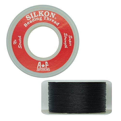 Silkon Bead Stringing Cord Size #0 Onyx Black - 20 Yard Spool. Made in Switzerland