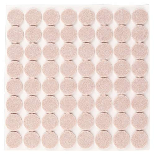 Filzada® 64x Filzgleiter Selbstklebend - Ø 20 mm (rund) - Beige - Profi Möbelgleiter Filz Mit Idealer Klebkraft
