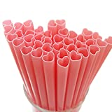 The best MOON 100pcs Heart Shaped Pink Straws Disposable Drinking Cute Straw Individually Wrapped plastic pink straw Party Supplies Birthday Party for kids Bridal Shower wedding supplies
