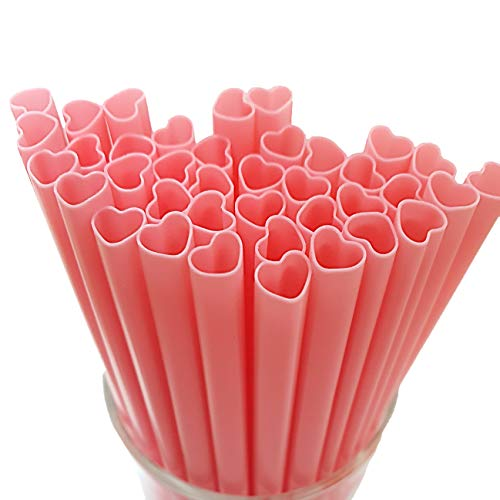 The best MOON 100pcs Heart Shaped Pink Straws Disposable Drinking Cute Straw Individually Wrapped...
