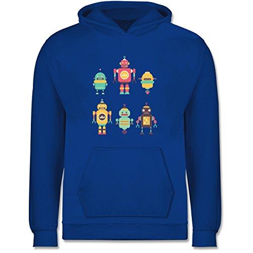 Shirtracer Up to Date Kind - Bunte Roboter - 104 (3/4 Jahre) - Royalblau - EIN Roboter für Kinder 5 Jahre - JH001K - Kinder Hoodie