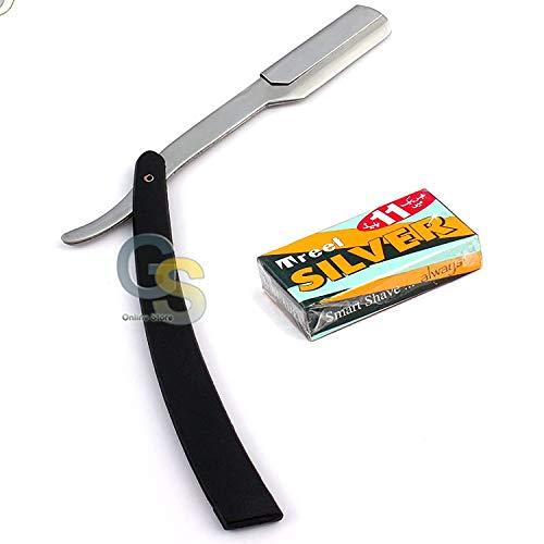 G.S BLACK STRAIGHT BARBER EDGE STEEL RAZOR FOLDING SHAVING KNIFE WITH 11 BLADES RAZORS BEST QUALITY