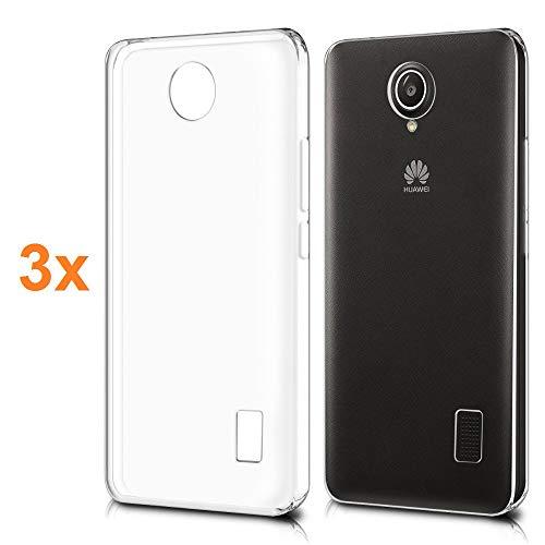 REY Pack 3X Cover in Gel TPU Trasparente per Huawei Y635, Ultra Sottile 0,33 mm, Morbido Flessibile, Custodia Silicone