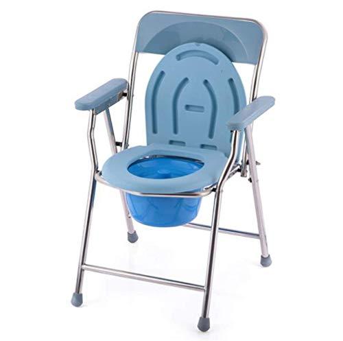 Klappbarer Toilettenstuhl/Duschstuhl, Nachttisch mit Kammerarmlehne Rückenlehne Leicht zu reinigen, geeignet für Fettleibigkeit