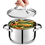 GOURMEX Tango Induction Casserole | Stainless Steel Pot With Glass Cookware Lid | Interior Measurement Markings | Compatible with All Heat Sources | Dishwasher Oven Safe (1.9 Quart)