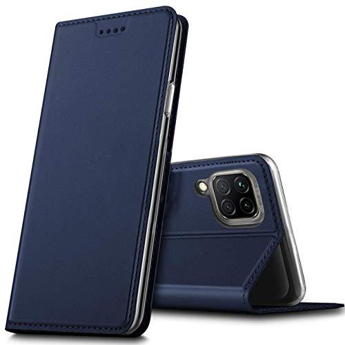 Verco Handyhülle für Huawei P40 Lite, Premium Handy Flip Cover für Huawei P40 Lite Hülle [integr. Magnet] Book Hülle PU Leder Tasche, Blau