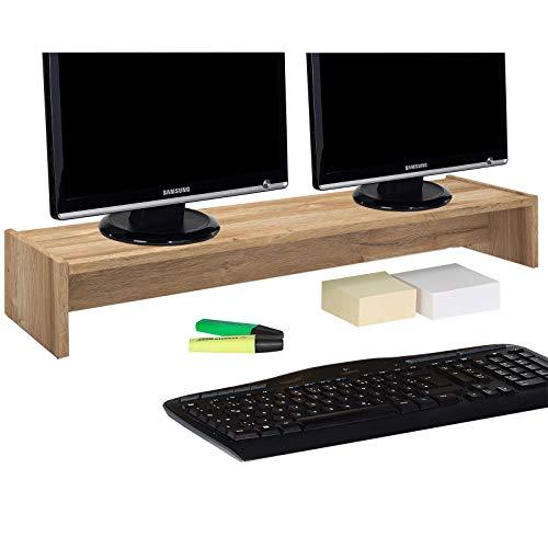 CARO-Möbel Monitorständer Zoom für 2 Monitore Bildschirmerhöhung Schreibtischaufsatz Tischaufsatz 100 x 15 x 27 cm in Wildeiche