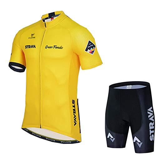 Maillot Ciclismo Corto de Verano para Hombre, Ropa Ciclismo y Culotte Ciclismo con Culotte Pantalones Acolchado 3D para Deportes al Aire Libre Ciclo Bicicleta (Amarillo C,4XL)