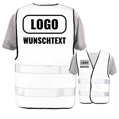 Persönliche Warnweste selbst gestalten mit eigenem Aufdruck * Bedruckt mit Name Text Bild Logo Firma, Menge:1 Warnweste, Farbe/Position:Weiß/Rücken + rechte Brust