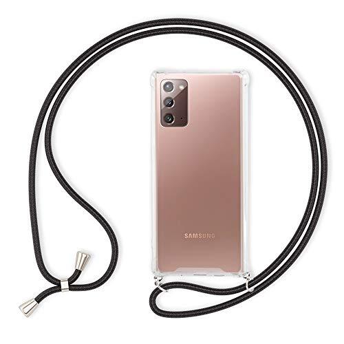 Kaliroo Necklace Hülle kompatibel mit Samsung Galaxy Note 20 Hülle, Transparente Schutzhülle mit Kette Slim Hardcase mit Umhänge-Band, Phone Cover Durchsichtige Handy-Tasche und Kordel, Farbe:Schwarz